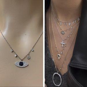 MeriaT 14K Platinum Gold Diamond Evil Eye Necklace